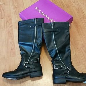 NEW Rampage black leather wide calf boots